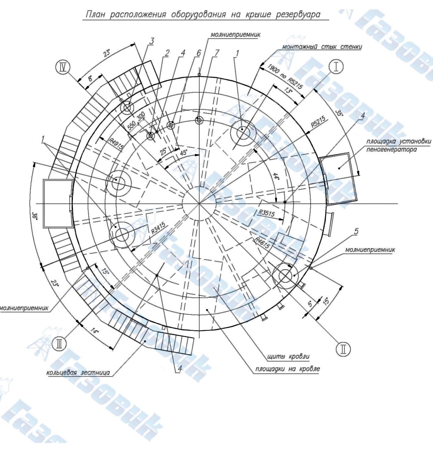 Схема монтажа крыши резервуара