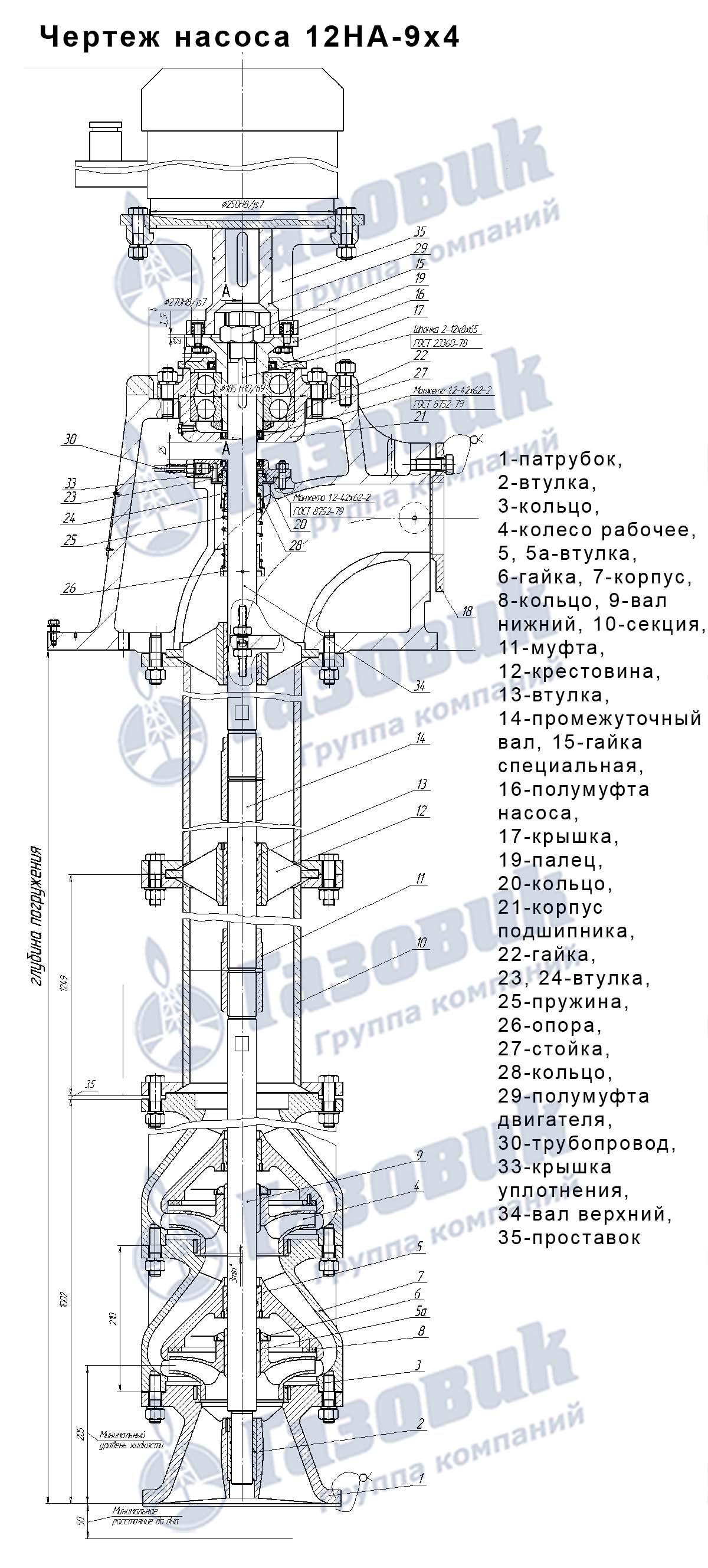 Напорный патрубок вертикального полупогружного насоса нк